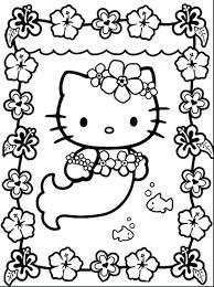 Free Printable Hello Kitty Birthday Coloring Pages Mermaid Print