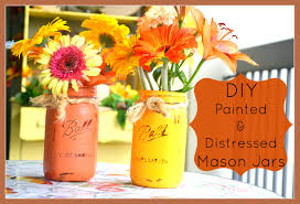 DIY Painted Distressed Mason Jars