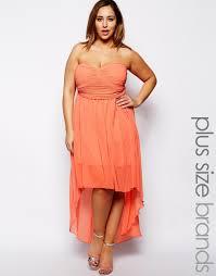 ax paris plus size plain chiffon drop back dress in red lyst