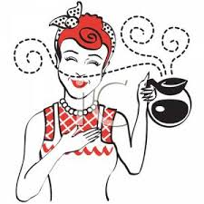 A Vintage Cartoon Of Woman Holding Coffee Pot With Nice Aroma