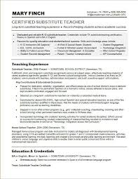 Substitute Teacher Sample Resume