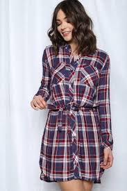 Zoom Detail View 1 BABY GRUNGE JUNIORS HIGH LOW PLAID SHIRT DRESS