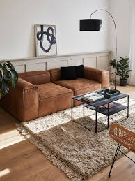 modulares sofa lennon 3 sitzer in braun aus recyceltem leder