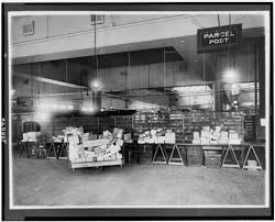 100 Area Trucks Parcel Post Area Of Mail Room Showing Trucks And Tables Stacked With