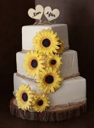 Bride Wanted A Rustic Cake With Raffia And Sunflowers Everything Is Fondant Except For The Toppers Which Were Wood Signs Made