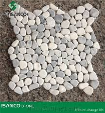 Shandong Produced Dark Cloud Marble Pebble Mosaic Light Grey Tumbled Floor Cheap Cobble Pattern Composited