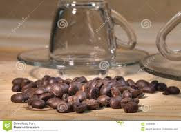 Download Coffee Beans In Transparent Cup Stock Image