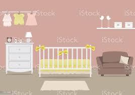 kinderzimmer für ein neugeborenes baby innen schlafzimmer für ein kleines mädchen in eine rosa farbe stock vektor und mehr bilder babybett