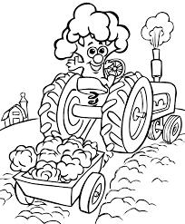Dessin à Imprimer Et à Colorier Dun Tracteur Agricole Moderne