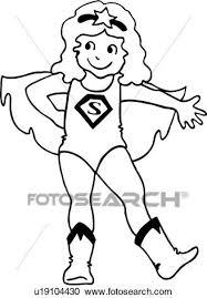 Clipart of cape child children costume girl happy hero