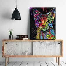Color Lovely Cat Without Frame Oil Painting Modern Simple Decorative