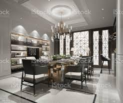 3d rendering luxus und moderne esszimmer mit tv stockfoto und mehr bilder accessoires