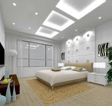 Handsome White Bedroom Decoration Using LED High Ceiling Lighting In Including Modern Rectangular Night Stand And