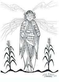 Corn Maiden Coloring Page