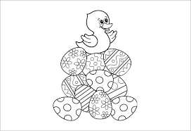 Easter Duck With Eggs Coloring Page