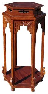 Golden Lotus Chinese Huali Rosewood Hexagon Pedestal Plant Stand