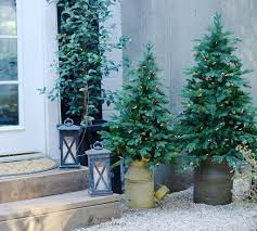 Pre Lit Porch Christmas Trees by Decorating With Potted Trees Balsam Hill Artificial Christmas