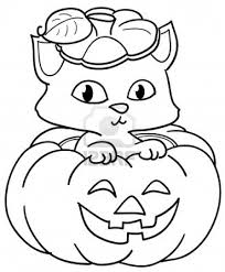 Cute Cat Halloween Pumpkin Coloring Pages
