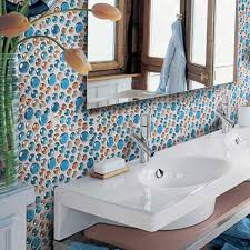 blue mosaic glass mosaic tiles tv backsplash wall