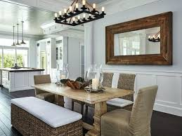 Beach House Dining Table Nautical Room Mango Rattan Bench And Banana Leaf Chairs