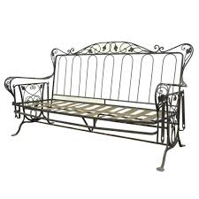 Vintage Wrought Iron Outdoor Patio Glider Swing Sofa Loveseat