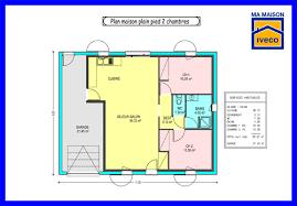 plan maison plain pied 2 chambres garage immobilier pour tous