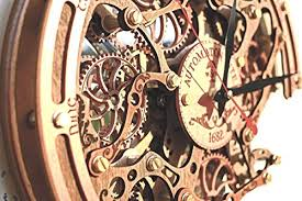 Automaton Bite 1682 HANDCRAFTED Moving Gears Wall Clock By WOODANDROOT Transparent Steampunk Unique