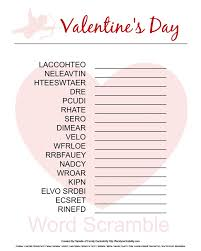 Valentines Day Printable Word Scramble Free