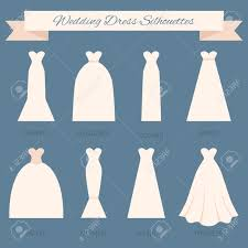 Different styles of wedding dresses made in modern flat vector style Choose your perfect wedding