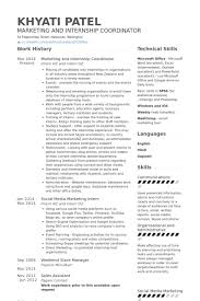 Marketing And Internship Coordinator Resume Samples