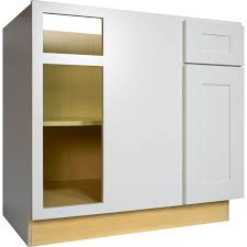 36 inch blind corner base cabinet left in bright white shaker