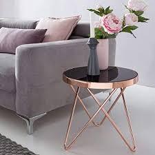 wohnling design eistelltisch dreibein metall glas ø 42 cm schwarz kupfer wohnzimmertisch verspiegelt sofatisch modern glastisch kaffeetisch rund