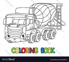 Funny Concrete Mixer Truck With Eyes Coloring Book