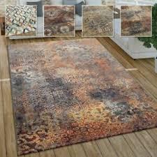 details zu wohnzimmer teppich im vintage used look industrial style kurzflor in rostfarben