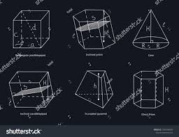 100 Rectangular Parallelepiped Set Geometric Shapes Oblique Stock Vector