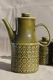 Connemara Celtic Vintage Irish Erin Green Shamrock Pottery Coffee Pot Set Made In Ireland
