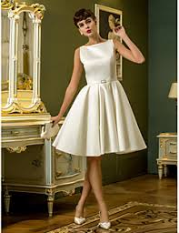 A Line Princess Bateau Neck Knee Length Satin Wedding Dress With Sash Ribbon By LAN TING BRIDER