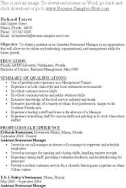 Sample Resume Of Restaurant Supervisor Plus Job Description