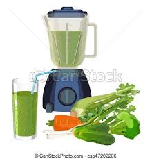 Blender And Glass Of Smoothie Made Organic Vegetables Vector