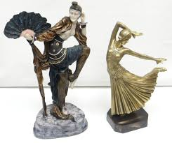 deco figurines reproductions two reproduction deco style composition figures the