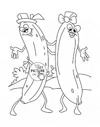 Funny Bananas Dancing Fruit Coloring Page For Kids Fruits Pages Printables Free