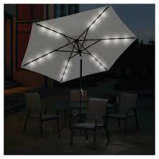 Solar Lighted Rectangular Patio Umbrella by Amazon Com Sun Ray 9 U0027 Solar Lighted Patio Umbrella Cream Home