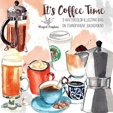 Coffe Time Watercolour Clip Art Hand Painted And