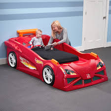 Lighting Mcqueen Toddler Bed by Step2 Wheels Toddler To Twin Race Car Bed Red Walmart Com Beds