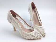 y See Through High Heels Pointed Toe Lace Wedding Bridal Shoes