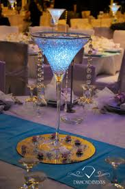 Martini Glass Vase Lighted In White Blue Color
