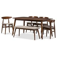 Flora Mid Century Modern Light Gray Fabric Oak Medium Brown Finishing Wood 6 Piece Dining Set