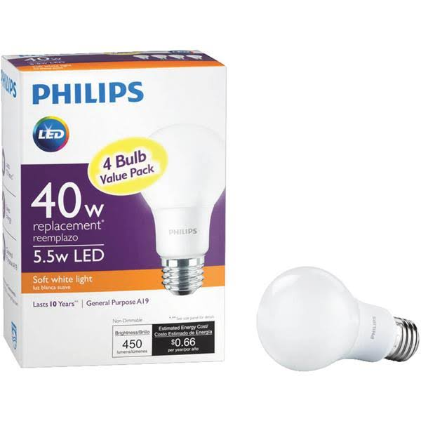 Philips 40W Equivalent A19 Non-Dimmable LED Household Light Bulb - Soft White