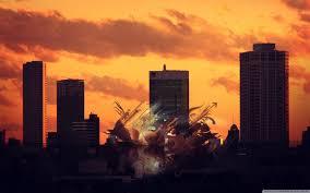 Sunset Abstract City 4K HD Desktop Wallpaper For Ultra TV
