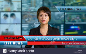 Asian American Female Anchor In Studio With Lower Thirds And Background Screens Live TV News Concept